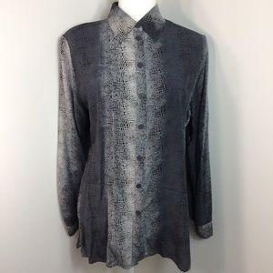 Frances La Vie 100% Silk Button Down Shirt Snake M